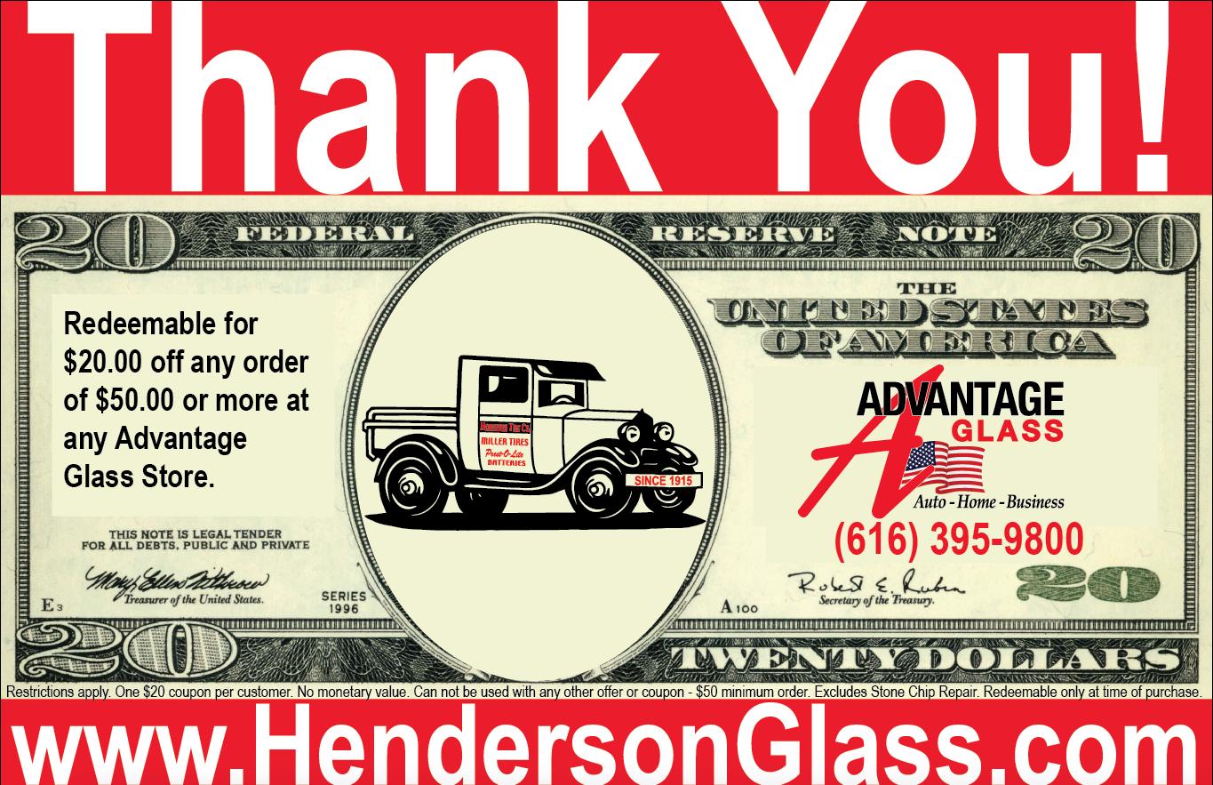 AdvantageAutoGlass.com - Thank You Coupon - Redeemable for $20 off any order of $50 or more at Advantage Auto Glass Store. (800) 275-4527